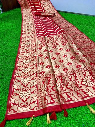 Picture of Pure silk saree with weaving work in all over saree