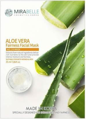 Picture of MIRABELLE COSMETICS KOREA ALOE VERA FAIRNESS FACIAL MASK (A PACK OF 5) (25 ml)  (25 ml)