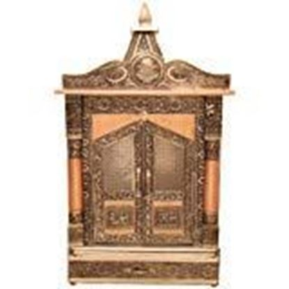 """Picture of GoldGiftIdeas Gold Foiled Velvet Pooja Mandir for Home, Home Temple Wall Hanging, Handcrafted Wooden Mandir, Wood Temple for Home and Shop (12"""" x 6"""" x 23"""" Inch)"""