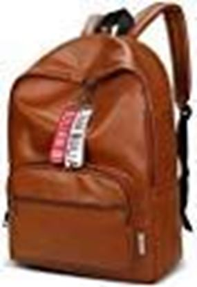 Picture of Vebeto PU Leather Canvas Backpack 14 Inch Laptop Bag College Office Waterproof Travel Fashion Casual Bagpack Men Women (Brown)