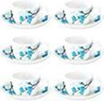 Picture of Larah by Borosil Mimosa (LH) Cup and Saucer Set, 140ml, 12-Pieces, White