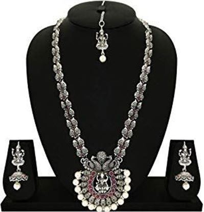Picture of Matushri Art German Silver Oxides Indian Traditional Temple Jewelry of Necklace Set for Women and Girls
