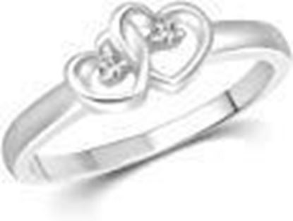 Picture of Vighnaharta Dual Heart CZ Silver and Rhodium Plated Ring for Women
