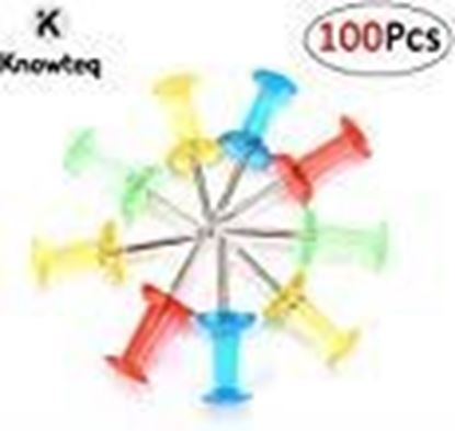Picture of KNOWTEQ Plastic Head Push Thumb Pins for Notice Board with A Reusable Storage Box (Multicolour) 100 Pieces