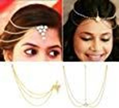 Picture of Its Yellow Gold Color Triangle Head Chain and Pearl Maang Tikka for Girls -Combo of 2