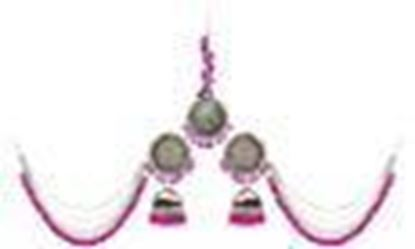 Picture of Yellow Chimes German Oxidised Silver Antique Traditional Maang Tikka with Earrings Jewellery
